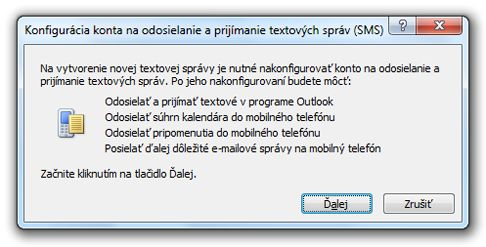 Konfigurácia konta na odosielanie a prijímanie textových správ