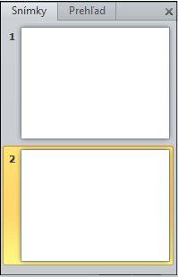 Tabla, ktorá obsahuje karty Prehľad a snímky