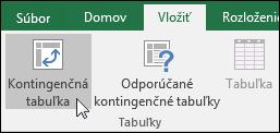 Ak chcete vložiť prázdnu kontingenčnú tabuľku, prejdite na položky Vložiť > Kontingenčná tabuľka