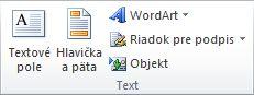 Skupina Text na karte Vložiť na páse s nástrojmi Excelu 2010.