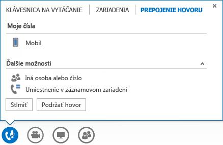Snímka obrazovky sponukou prepojenia hovoru