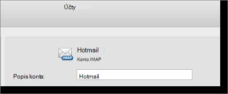 Popis a typ konta programu Outlook sú zobrazené.