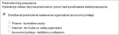 Snímka obrazovky s predvolené nastavenia typu prepojenia pre kolekciu lokalít