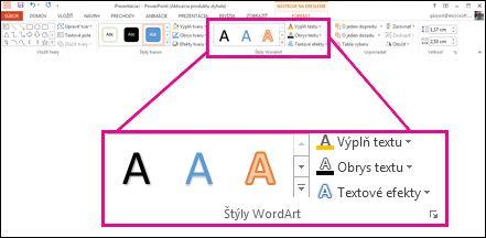 Príkazy Štýly objektu WordArt na páse s nástrojmi.