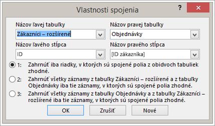 Snímka obrazovky s spojenie – vlastnosti zvýraznenie názov ľavá tabuľka