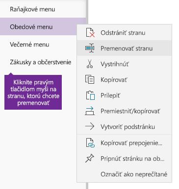 Snímka obrazovky premenovania strany vo OneNote