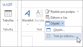 Ponuka objekt v skupine Text