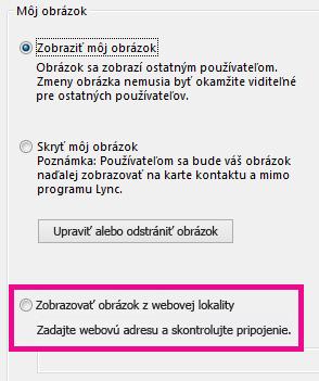 Snímka obrazovky sčasťou okna smožnosťami Môj obrázok Lyncu so zvýraznenou možnosťou výberu obrázka zwebovej lokality