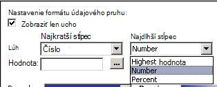nastavenie formátovania pre údajové pruhy