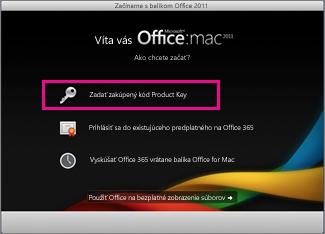Obrazovka aktivácie Office for Mac