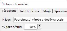 Snímka obrazovky s dialógovým oknom úlohy Podrobnosti o úlohe zobrazujúcom percento dokončenia