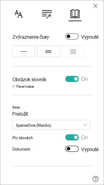 Preklad možnosti sa nachádzajú v časti obrázok slovník.