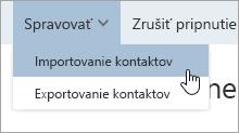 Snímka obrazovky možnosti importovať kontakty v ponuke Spravovať