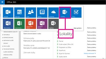 V Office 365 vyberte položku Lokality