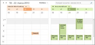 importované Google Kalendáre zobrazené vedľa seba v Outlooku