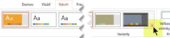 Výberom šípky nadol otvoríte galériu variantov farieb