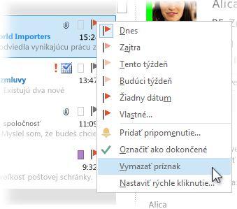 Príkaz Odstrániť príznak v ponuke zobrazenej po kliknutí pravým tlačidlom myši v zozname správ