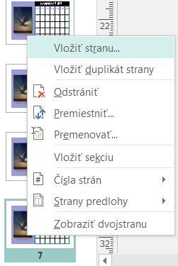 Na vloženie strany kliknite pravým tlačidlom myši na stranu na table Navigácia strany.
