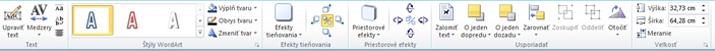 Karta Nástroje WordArt vprograme Publisher 2010