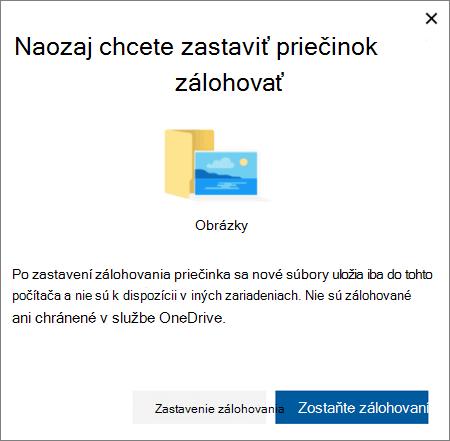 Snímka obrazovky s keď ukončíte ochrana priečinkov v službe OneDrive