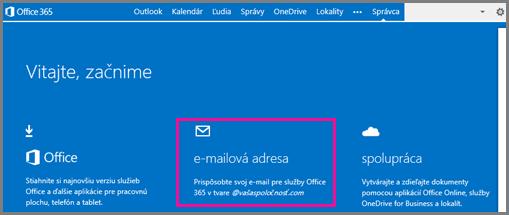 Uvítacia stránka so zobrazenou dlaždicou e-mailovej adresy
