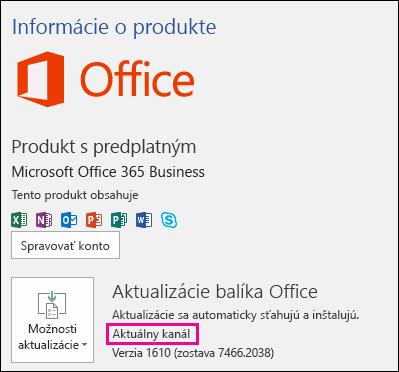 Informácie o konte produktu pre aktuálny kanál predplatného na Office 365 Business