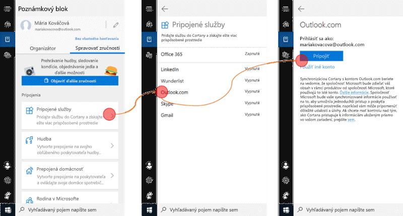 Snímka obrazovky s Cortana otvorené na Windows 10 a pripojené služby ponuky otvorte.
