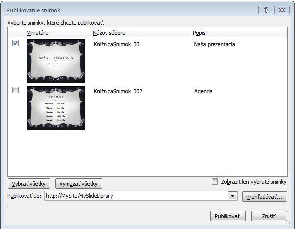 Dialógové okno Publikovanie snímok