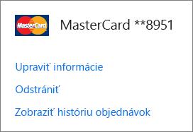 Stránka Možnosti platenia zobrazujúca prepojenia Upraviť informácie, Odstrániť a Zobraziť históriu objednávok pre kreditnú kartu.