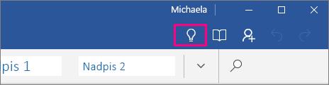 Zobrazenie umiestnenia ikony Chcem zistiť na páse snástrojmi vo Worde Mobile