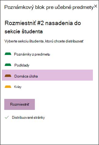 Možnosti rozdelenia stránky študentom