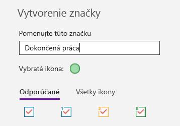 Vytvorenie vlastnej značky vo OneNote pre Windows 10