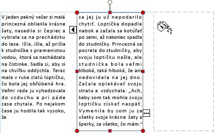 Snímka obrazovky s textovým poľom spretekajúcim textom pripraveným na naliatie do iného textového poľa.