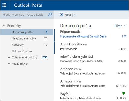 Hlavná obrazovka pre Outlook.com alebo Hotmail.com