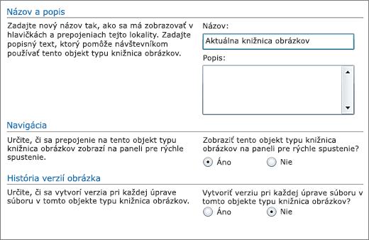 Dialógové okno na pridanie názvu, diagramu, navigácie panela Rýchle spustenie apoložky Riadenie verzií.