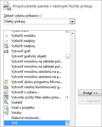 Výber XML súboru v zozname príkazov a kliknutie na položku Pridať
