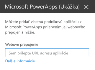 Tabla vlastnosti aplikácie Power