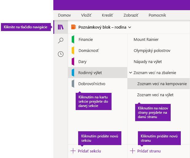 Sekcie a strany vo OneNote pre Windows 10