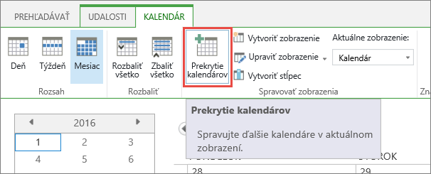 Tlačidlo Prekrytie kalendára na páse s nástrojmi