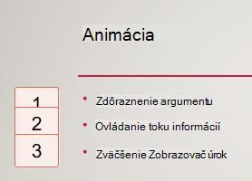 Čísla na ľavej strane uzavretý do polí, označovať výskyt animácie na snímke.