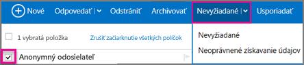 Na navigačnej table Outlooku kliknite na šípku nadol Nevyžiadaná pošta.