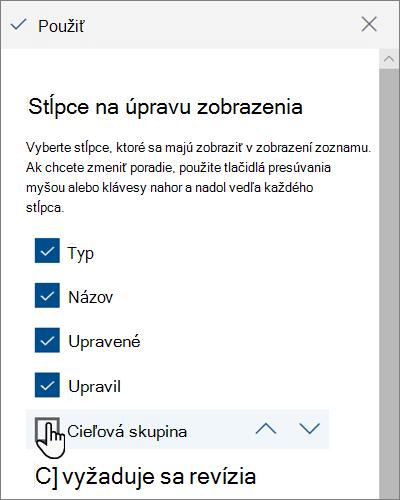 Tabla úpravy stĺpcov zobrazenia v modernej službe SharePoint Online
