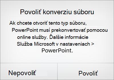 Výzva na ochranu osobných údajov pre súbor vo formáte ODF v PowerPointe pre iPhone