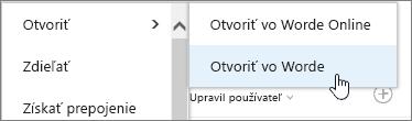 Otvorenie výberu aplikácií svybratou možnosťou Word
