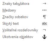 Uvedené formátovacie znaky sú k dispozícii v e-mailových správach.