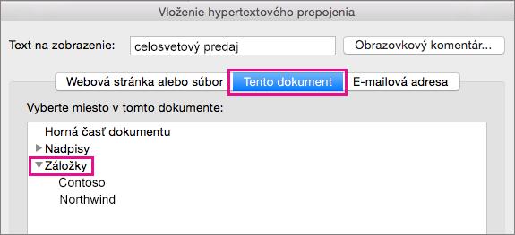Dialógové okno Vloženie hypertextového prepojenia so zvýraznenou kartou Tento dokument a položkou Záložky.
