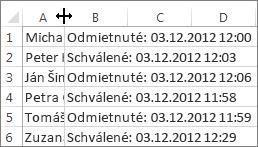 Kliknutie medzi stĺpec A a B a následné dvojité kliknutie