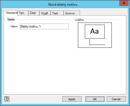 Snímka obrazovky zobrazuje dialógové okno vytvoriť nové efekty motívu