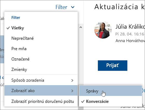 Snímka obrazovky s ponukou Filter a vybratou položkou Zobraziť ako