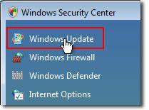 V Centre > zabezpečenia systému Windows > položku > zabezpečenie > položku Windows Update.